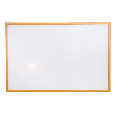 """Viztex Lacquered Steel Magnetic Dry Erase Board Oak Effect Surround Size 36"""" x 24"""""""