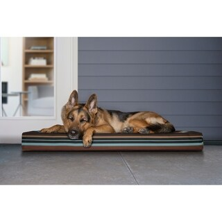 Furhaven Indoor/Outdoor Blue and Brown Polyester and Faux Suede Deluxe Memory Foam Dog Bed