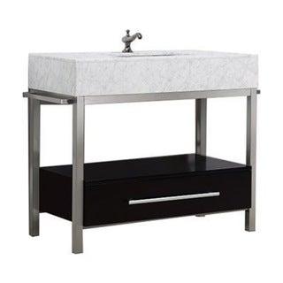 Denali Collection Black or Grey Espresso Maple, Marble and Steel Vanity Floor Cabinet