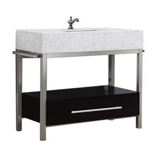 Denali Collection Black or Grey Espresso Maple, Marble and Steel Vanity Floor Cabinet