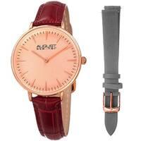 August Steiner Women's Japanese Quartz Interchangeable Leather Strap Watch - Red