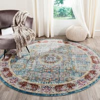 Safavieh Valencia Blue/ Multi Center Medallion Distressed Silky Polyester Rug - 6' 7 Round