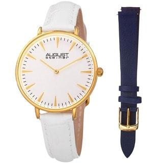 August Steiner Womens Japanese Quartz Interchangeable Leather Strap Watch