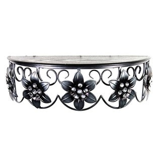 Metal 22-inch Floral Wall Shelf