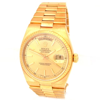 Rolex Pre-owned 18-karat Yellow Gold Daydate Oyster Quartz Watch