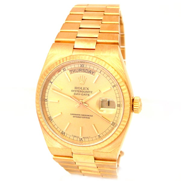pre owned rolex unisex 18 karat yellow gold day date. Black Bedroom Furniture Sets. Home Design Ideas