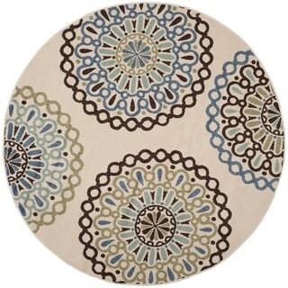 Safavieh Indoor/ Outdoor Veranda Cream/ Blue Rug (6'7 Round)