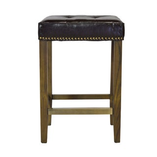Ash Counter Stool with Brass Nailheads