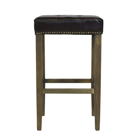 Handmade Ash Bar Stool with Brown Leather Seat and Brass Nailheads