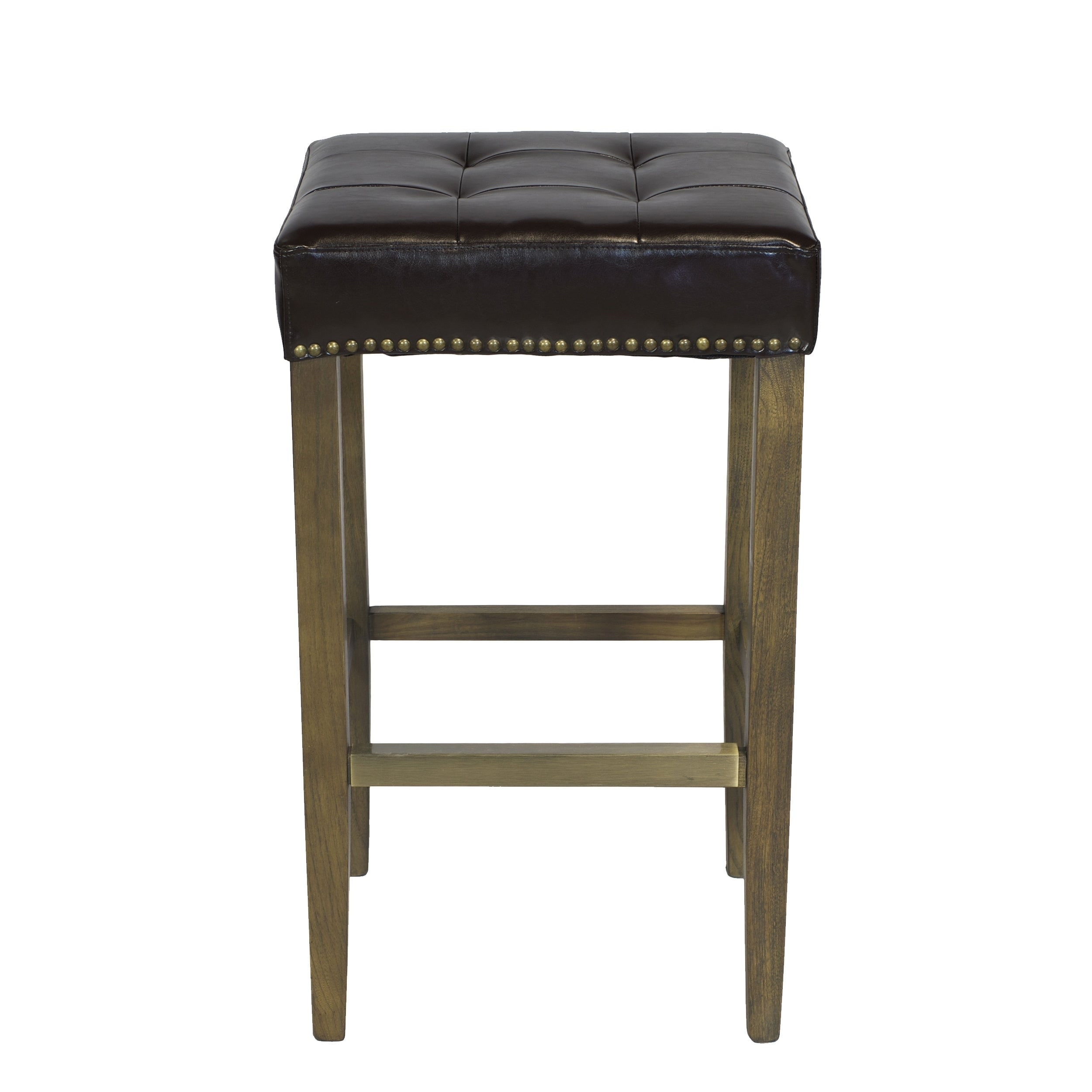 Awesome Handmade Ash Bar Stool With Brown Leather Seat And Brass Nailheads Gamerscity Chair Design For Home Gamerscityorg