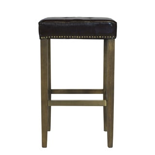 ash bar stool with brown leather seat and brass nailheads