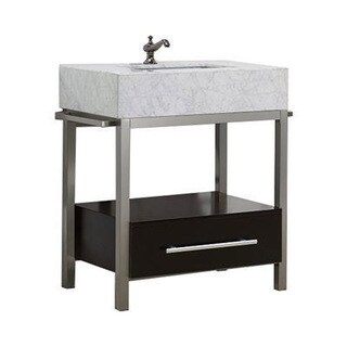 Denali Collection Black/Grey Espresso Finish Vanity With Marble Countertop