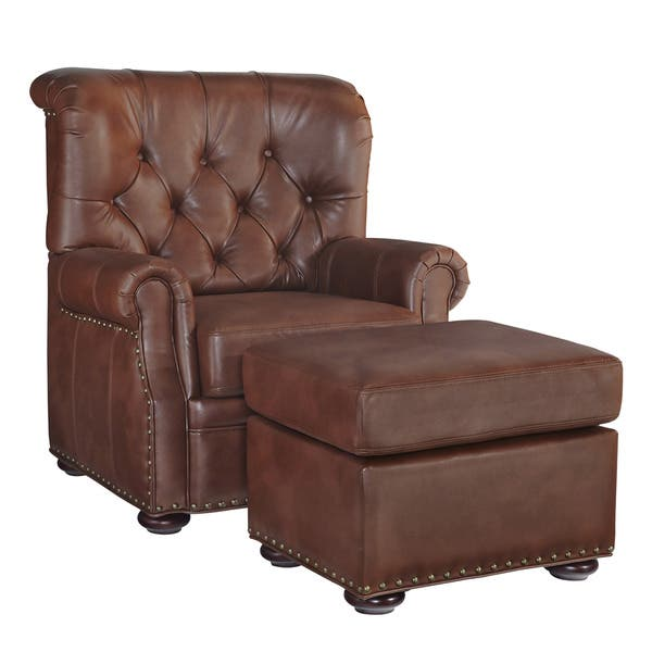 Marvelous Miles Cognac Bonded Leather Stationary Chair And Ottoman By Home Styles Creativecarmelina Interior Chair Design Creativecarmelinacom