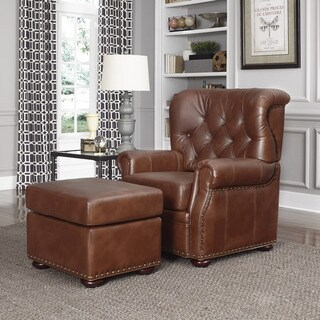 Miles Cognac Bonded Leather Stationary Chair and Ottoman by Home Styles