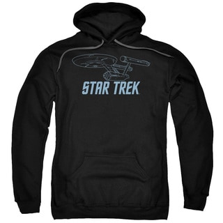 Star Trek/Enterprise Outline Adult Pull-Over Hoodie in Black
