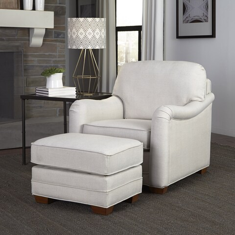 Heather Ivory Upholstered Stationary Chair and Ottoman by Home Styles