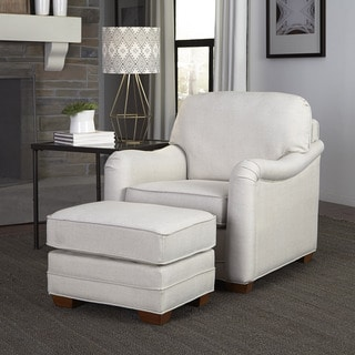 Heather Ivory Upholstered Stationary Chair and Ottoman