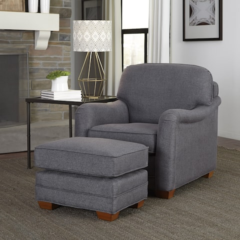 Magean Grey Upholstered Stationary Chair and Ottoman by Home Styles
