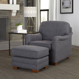 Magean Grey Upholstered Stationary Chair and Ottoman
