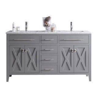 Wimbledon Collection Espresso Finish Maple, Wood, and Marble Double Vanity with Marble Countertop