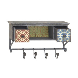 Vintage-style Multicolored Wood Storage Shelf With Hooks