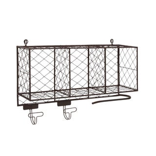 Black Metal Storage Shelf with Hooks