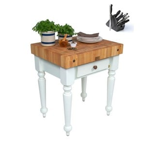 John Boos 24x24 Rustica CUCR04-AL White Wood Kitchen Work Table & Bonus 13 Pc Henckels Knife Set