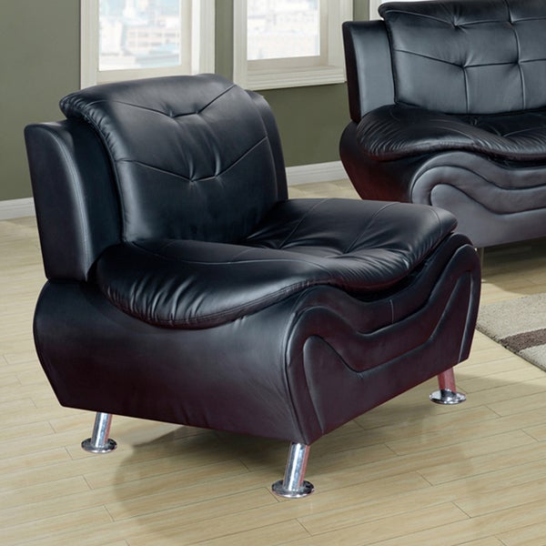 ellena black red white faux leather wood modern living room chair