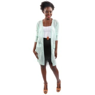 2 Piece Outfit: Hadari Women's Outfit Open Front Long Sleeve Knit Cardigan and Mini Skirt With Trim