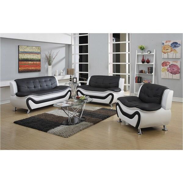 Ellena modern faux leather three piece living room sofa for Three piece leather living room set