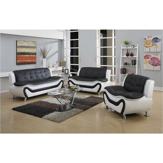 Alica modern black red faux leather chair free shipping - Red leather living room furniture set ...