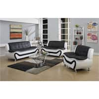 Ellena Modern Faux-leather Three-piece Living Room Sofa Set