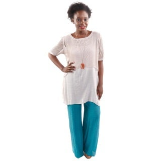 2 Piece Outfit: Hadari Women's 2 in 1 Round Neck Flare Fashion Tunic Top and Wide Leg Palazzo Pants