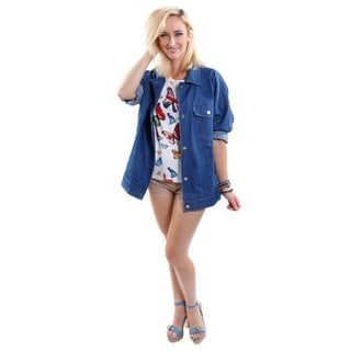 3 Piece Outfit Hadari Women's Freedom Butterfly Tee, Oversized Hip Denim Jacket and Fashion Short-Shorts