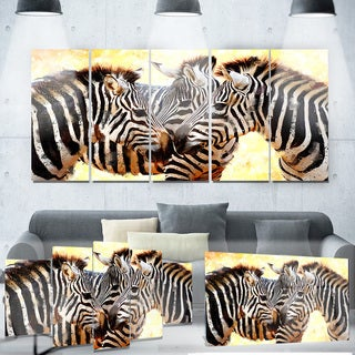 Designart 'Zebra Trio' Animal Metal Wall Art