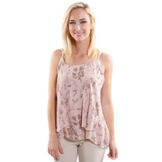 Hadari Women's Spaghetti Strap Flare Fashion Shirt With Leafy Print (One Size)