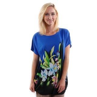 Hadari Women's Round Neck Short Sleeve Floral Fashion Top (One Size)