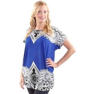 Hadari Women's Border Print Floral Fashion Tunic (One Size)