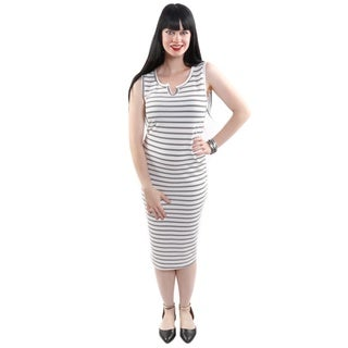 Hadari Women's Sleeveless Striped Sheath Fashion Dress
