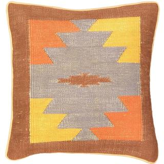 Ecarpetgallery Blue/Brown Wool Hand-made Ottoman Kilim Cushion Cover (1'5 x 1'5)