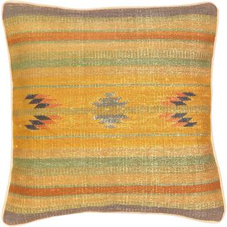 eCarpetGallery Ottoman Grey and Orange Wool Hand-made Kilim Cushion Cover (1'5 x 1'5)