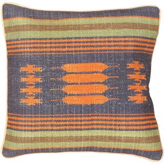 eCarpetGallery Ottoman Hand-made Blue Wool Kilim Cushion Cover (1'5 x 1'5)