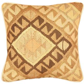 eCarpetGallery Hand-made Ottoman Kilim Beige/Brown Wool Flat Weave Cushion Cover (1'5 x 1'5)