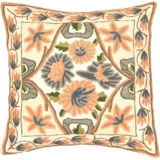 eCarpetGallery White Wool Kashmir Hand-made Needle Point Cushion Cover (1'4 x 1'4)