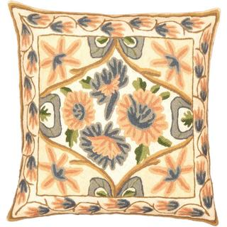 eCarpetGallery Kashmir Hand-made White Wool Needlepoint Cushion Cover (1'4 x 1'4)