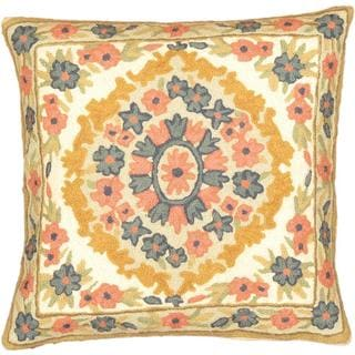 eCarpetGallery Hand-made Kashmir Needle Point Beige/Blue Wool Cushion Cover (1'4 x 1'4)