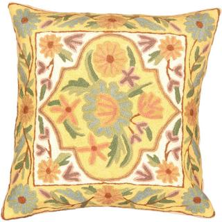 eCarpetGallery Kashmir White/Yellow Wool Handmade Needle Point Cushion Cover (1'4 x 1'4)