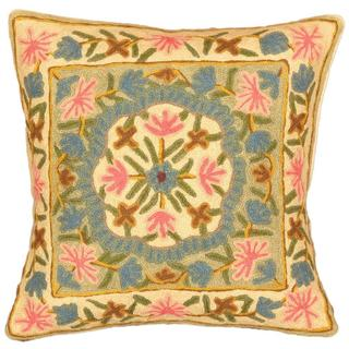 eCarpetGallery Beige Wool Kashmir 16-inch Square Handmade Needlepoint Cushion Cover