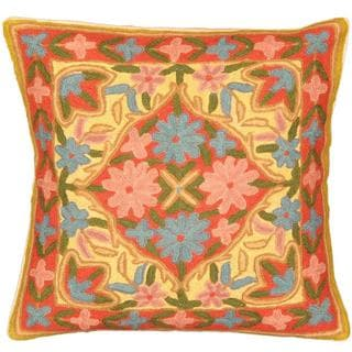 eCarpetGallery Kashmir Red and Yellow Wool Needlepoint Cushion Cover (1'4 x 1'4)