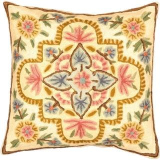 eCarpetGallery Handmade Kashmir Needle Point Beige/Brown Wool Cushion Cover (1'4 x 1'4)